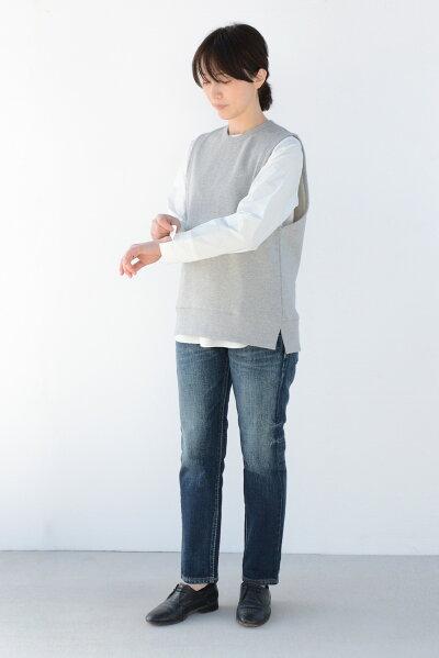 【新作New】インナーセットプルオーバーベスト×ブラウスコットンニットリブフリーサイズクルーネックニットSwarmフォーマル母の日ギフト