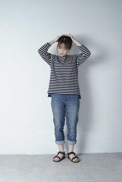 新作ボーダー7分Tシャツ大人カジュアル5色16番糸レディースファッション【ネコポス便送料無料】