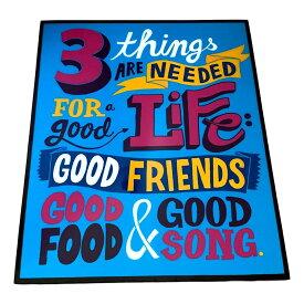 【送料無料】 3 LIFE GOOD FOOD FRIENDS SONG アートパネル 壁掛け 据え置き 壁掛けフック付き アーティスト POPパネル インテリア アートフレーム ポスター cool クール 面白い かっこいい アート 雑貨 カフェ リビング 額付き 額縁 オシャレ