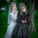 ロリータ ワンピース ウエディング ドレス 長袖 ゆめかわいい ゴシック ゴスロリ ブラック ホワイト レディース 優雅 …