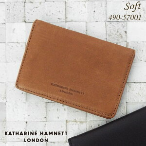 キャサリンハムネット KATHARINE HAMNETT 財布 名刺入れ ソフト牛革 メンズ ブラック/ブラウン 490-57001