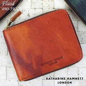 キャサリンハムネット 財布 二つ折り財布 ラウンドファスナー KATHARINE HAMNETT FLUID 490-59209 メンズ レディース 革 送料無料