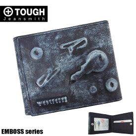 TOUGH タフ 二つ折り財布 メンズ エンボス 55931 牛革 レザー ブラック