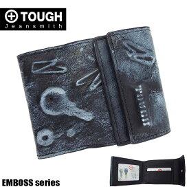 TOUGH タフ 二つ折り財布 メンズ エンボス 55932 革 ブラック
