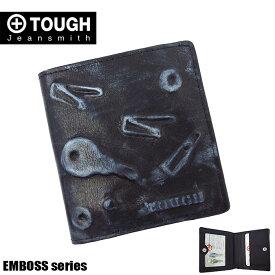 TOUGH タフ 二つ折り財布 メンズ エンボス 55933 革 レザー ブラック