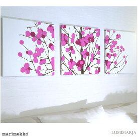 壁掛け 壁飾り 設置簡単 ファブリックパネル アリス marimekko LUMIMARJAPINK 40×40cm 3枚セット ピンク マリメッコ 人気インテリア おしゃれ ルミマルヤ LUMIMARJA