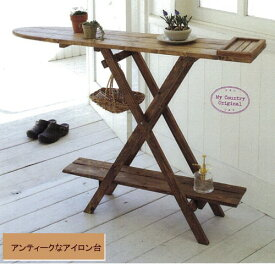 ■【私のカントリー掲載】木製 ディスプレイアイロン台 キャンプテーブル シェルフ【アリスの時間】★