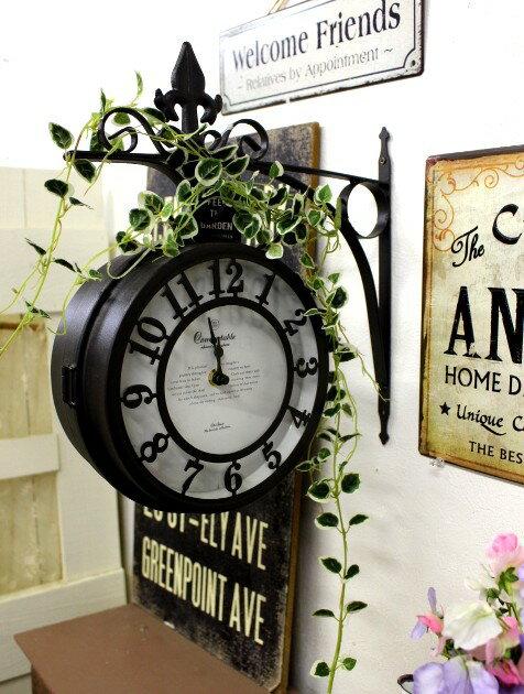 ■壁掛け時計 オールドストリート ボスサイドクロック アンティーク両面時計 L 【送料無料】 【アリスの時間】★
