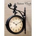 【ポイント5倍&ママ割エントリーで5倍+5倍】Station Clock Wall 両面時計ウォールクロック ブラックL Matt Black(L…
