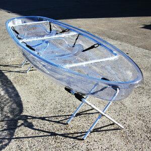 クリアカヤック シーカヤック  2人乗り 透明 軽量 クリアシート パドル付き clear kayak フルセット 西濃運輸営業所止め