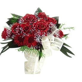 【ブリザーブドフラワー】三日月型ラインがエレンガント クレセント 豪華なバラのコンポートアレンジメント『真紅のクレッシェント』薔薇とガーベラ・プリザーブドフラワー
