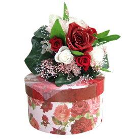 【ティーカップセット】 プリザ 花束 誕生日ギフト 英国調 『タッジーマッジー』Tuzzy Muzzy 『タッジーマッジー』薔薇ブーケ[ヴィクトリアンなリボン]バラ模様 ティーカップとブーケSet セットギフト 送料無料