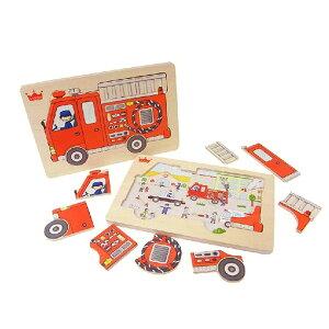 【ヨーロッパ木のおもちゃ】 エド・インター 木製の形合わせパズル『消防車』Go! Go! Fire truck [知育玩具木のおもちゃ [エドインター]ヨーロッパ安全基準CE取得[送料無料おむつケーキと同梱