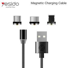 USB充電ケーブル マグネット着脱式 3in1 ライトニング マイクロB タイプC スマートフォン タブレット 電子タバコ iPhone Android iQOS PloomTECH glo Lightning Micro-B Type-c