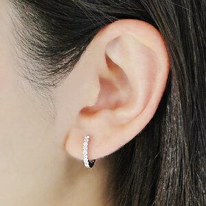 K18WGダイヤモンド【0.2ct】中折れピアス