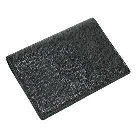 シャネル A80643 パスポートケース カードケース CC ココ シグネチャー ステッチ キャビアスキン 型押しカーフ ブラック CHANEL