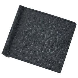コーチ F23847-BLK 財布 メンズ 二つ折り 札入れ マネークリップ ビルフォールド クロスグレインレザー ブラック アウトレット COACH