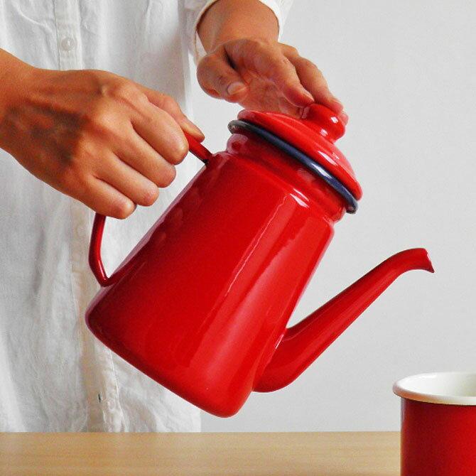 【SATO琺瑯】コーヒーポット 1.1L ホーロー ポット ドリップ IH対応【あす楽対応】【送料無料】【海外発送】【ギフト推奨】レッド ブルー ホワイト