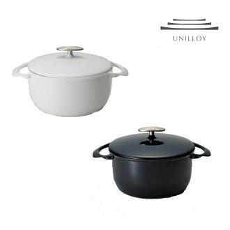 UNILLOY(yuniroi)铸件珐琅锅历史上,第一次轻厚度2mm的焙盘22cm深蓝/白