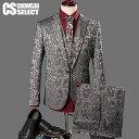 スーツ メンズ 花柄 フラワー エンブレム 3P スリーピース 送料無料 インポート 3Pスーツ 3ピーススーツ スリムスーツ セットアップ 上下セット テーラ...