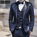 ホスト スーツ 花柄スーツ メンズ 総柄スーツ フラワー柄 細身スーツ メンズ ホスト スーツ スリーピース 送料無料 イ…