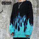 セーター メンズ ストリート系 ファッション ニットソー ファイヤーパターン ファイア ロングTシャツ メンズ オーバー…
