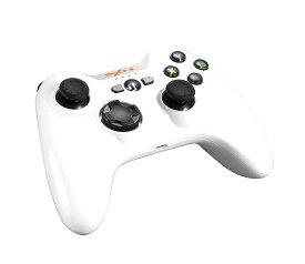 SR [送料無料] PXN 6603 MFi ゲームコントローラー ワイヤレス Bluetooth ゲームパッド IOS対応 スマホホルダー付き ホワイト white Apple MFI認証 (4170-WH)