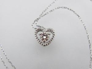 プラチナ0.10CTダイヤモンドハートのネックレス10P07Feb16【楽ギフ_包装】