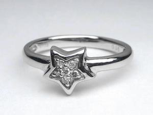 K18WG ホワイトゴールドダイヤモンドスター リング10P18Jun16【楽ギフ_包装】