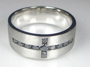 K18WGブラックダイヤ リング10P18Jun16【楽ギフ_包装】