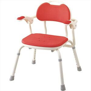 アロン化成 安寿 ひじ掛け付 シャワーベンチ TH-S レッド 536-142 介護用 シャワーチェア バスチェア お風呂椅子