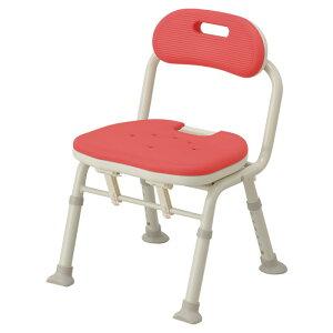 アロン化成 安寿 コンパクト折畳シャワーベンチIC背付レッド536-362 自立 介護用 シャワーチェア バスチェア お風呂椅子