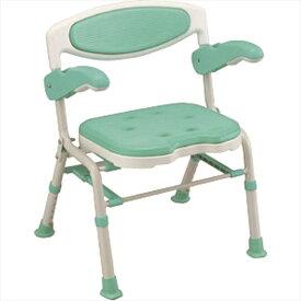 島製作所 折りたたみシャワーチェアー 楽湯 DX ライトグリーン 7250 自立 お風呂 イス (椅子) 介護用 バスチェア シャワーベンチ お風呂椅子