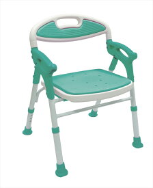 島製作所 折りたたみシャワーチェアー楽湯 7550ST ライトグリーン 自立 介護用 バスチェア シャワーベンチ お風呂椅子