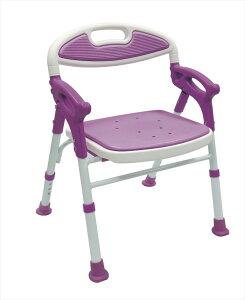 島製作所 折りたたみシャワーチェアー 楽湯 7550ST パープル 自立 介護用 バスチェア シャワーベンチ お風呂椅子
