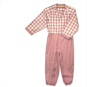 丸昌 制菌前開き介護用つなぎねまき LL ピンク 通年用 乾燥機OK ファスナー パジャマ