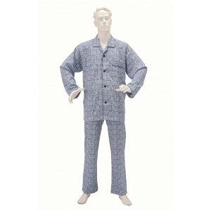神戸生絲 楽らくパジャマ柄タイプ 紳士用 LL ネイビー 男性用 介護用