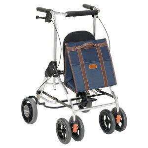 幸和製作所 テイコブリトルR ネイビー 歩行器 歩行車 杖立て付 抑速ブレーキ付 抵抗器 高齢者 老人 介護用 【メーカー直送/代引不可】