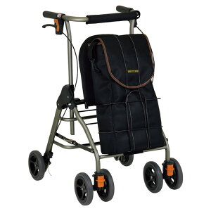 幸和製作所 テイコブリトルボンベ ブラック 歩行器 歩行車 杖立て付 ブレーキ付 高齢者 老人 介護用 【メーカー直送/代引不可】