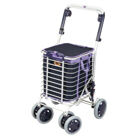 ユーバ産業 アルミワイヤーカート メッシュ紺 ショッピングカート 4輪 カゴのせ可能 高齢者 老人 おしゃれ