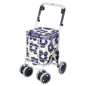 ユーバ産業 アルミワイヤーカート (花柄)ブルー ショッピングカート シルバーカー 4輪 カゴのせ可能 手押し車 高齢者 老人 シルバーカート おしゃれ