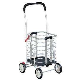 須恵廣工業 アルミワゴンS ショッピングカート シルバーカー 4輪 杖立て付