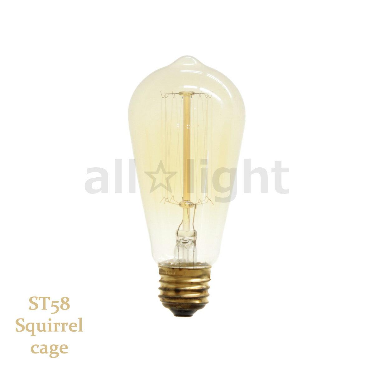 ☆★ エジソンバルブ(エジソン電球) ナス球形 ST58 E26 110V 40W Squirrel cage ST58 E26 110V 40W SC