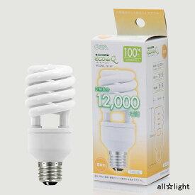 ☆オーム電機 電球形蛍光灯(蛍光ランプ) D形 エコデンキュウ スパイラル形 100形(100W形) 3波長形電球色 E26口金 EFD25EL18SP