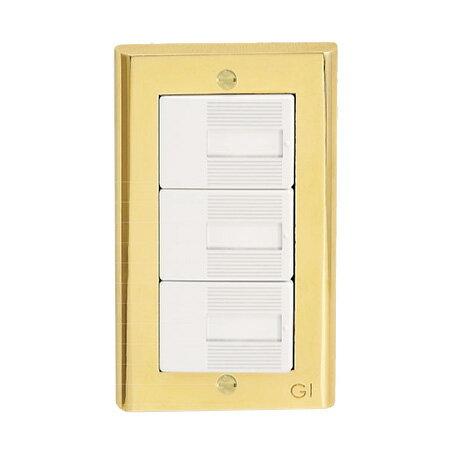 ☆ゴーリキアイランド 真鍮製スイッチプレート コスモシリーズワイド21用 1連用 真鍮PVD仕上げ(ゴールド) スイッチプレート PC PVD