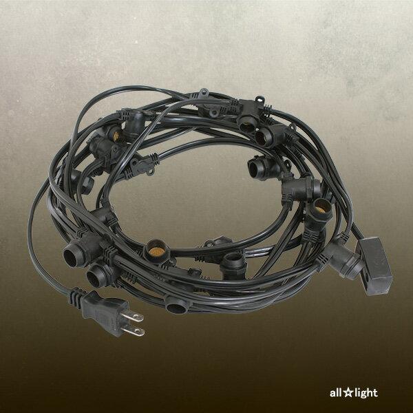 ☆★ 防水型ストリングライトコード(連結ソケット) E12 黒 E12ソケット25個付き(ランプ別売) Water proof String light cord E12 ≪あす楽対応商品≫