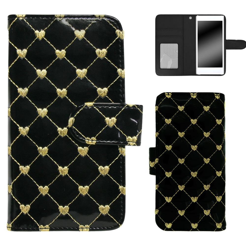 HTC U12+ ケース スマホケース 手帳型 ハートキルト かわいい 刺繍 つやあり ハート柄 おしゃれ オーダー チェーンハート AM_OD_LL