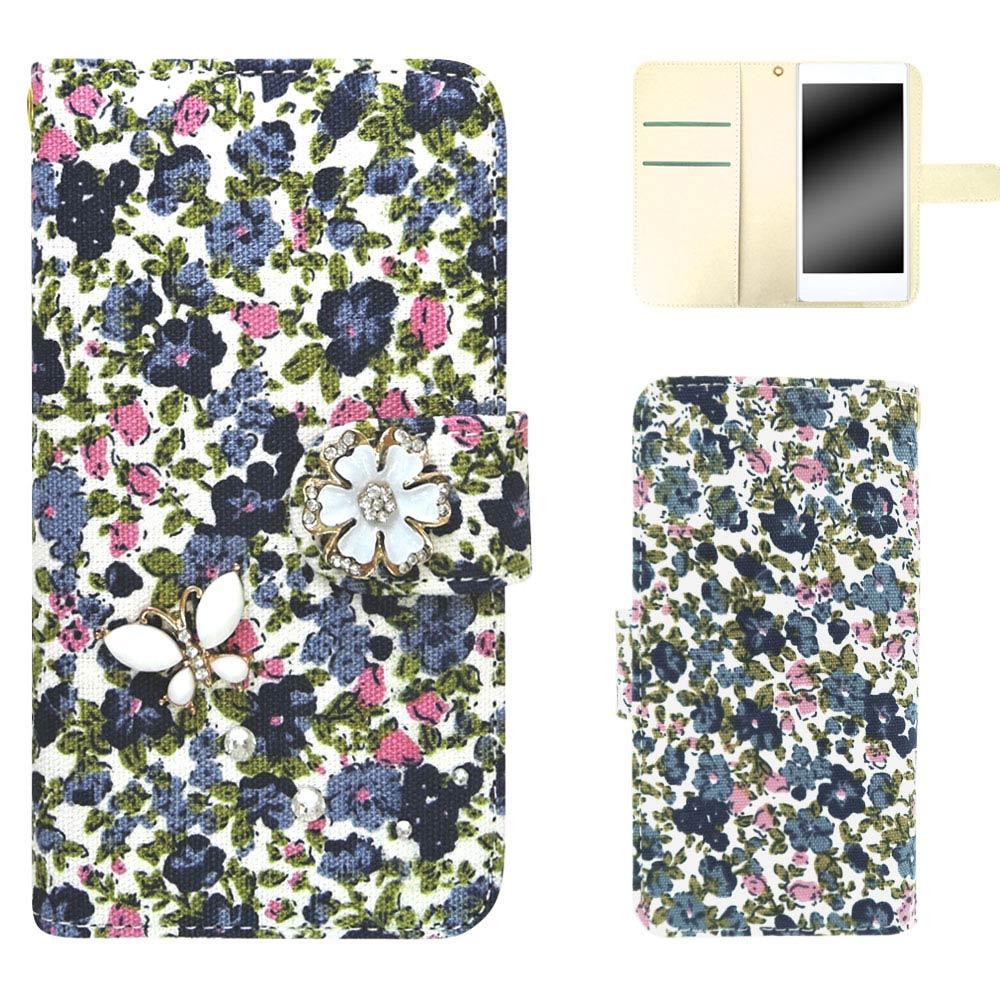 Xperia XZ Premium SO-04J ケース スマホケース 手帳型 花柄 花 小花柄 小花 デコ デコケース デコレーション オーダー 花柄3D蝶デコ AM_OD_LL