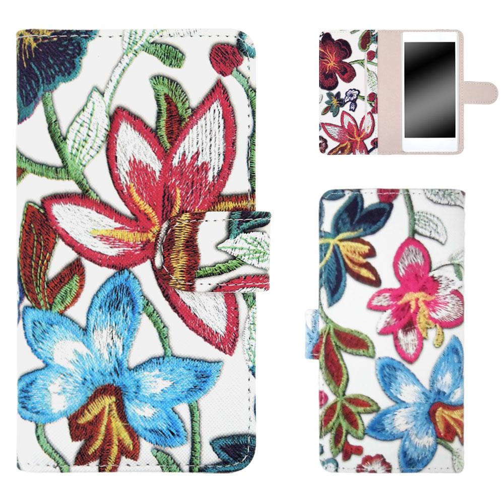 HTC U12+ ケース スマホケース 手帳型 花 フラワー 左利き スタンド 収納 カバー 携帯カバー ケース オーダー フラワー刺繍プリント AM_OD_LL