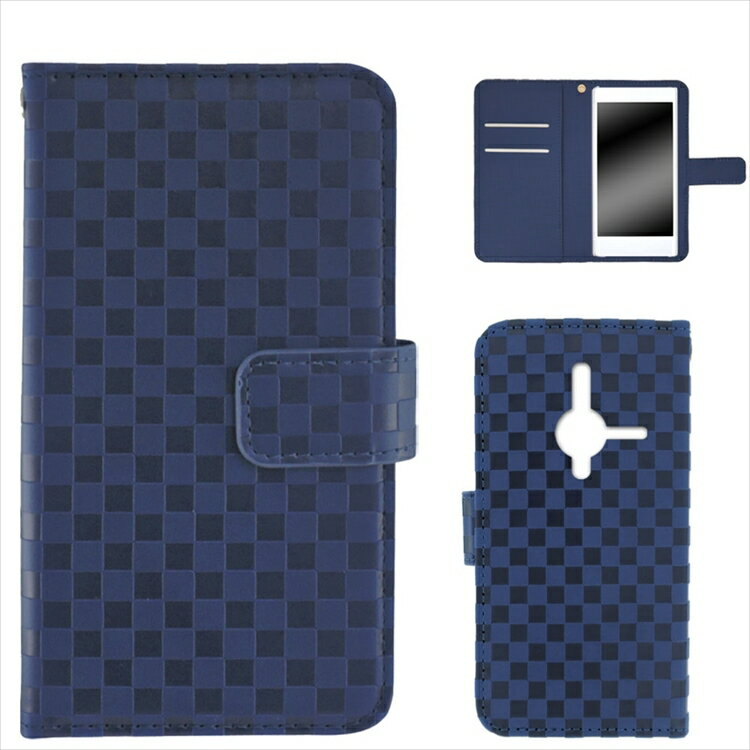 Disney Mobile SoftBank DM014SH ケース 手帳型 スマホケース 携帯 ケース カバー ストラップ マグネット ベルト付き シンプル ラバー 和 和風 市松模様デザイン オーダー 市松柄
